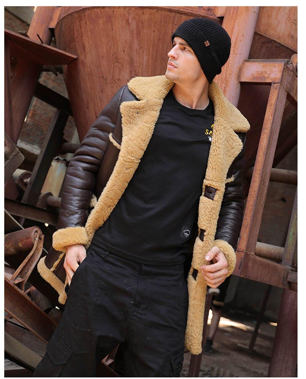 H753af611f7a74569a3ab6c1cd3e6a804G Men Luxury Fur Shearling Coat Yellow Soft Thicken Fur Coat Winter Male Formal Business Fur Sheepskin Jackets