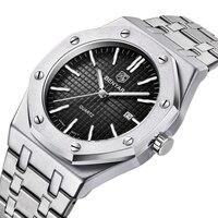 Benyar 2020 novos homens de luxo esporte à prova dwaterproof água relógios quartzo aço inoxidável horas data relógio masculino pulso relogio masculino Relógios de quartzo     -