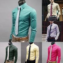 Модные Для мужчин рубашка сплошной Цвет с длинными рукавами, пуговицами и рубашка с длинным рукавом, тонкие, официальные, Бизнес Топ для Мужская одежда социальных размера плюс M-5XL
