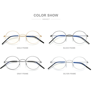 Image 5 - FONEX Screwless Eyewear Prescription Eyeglasses Frame Women Round Myopia Optical Denmark Korean Glasses Frame Men Titanium 98607