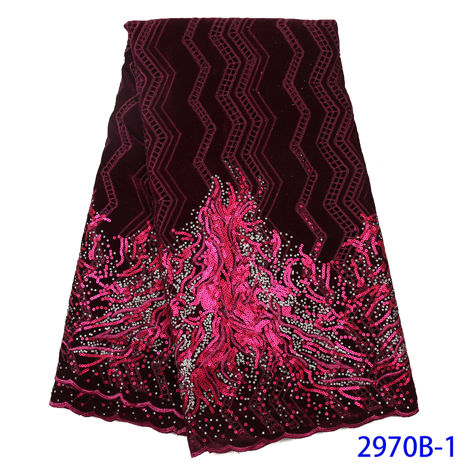 2019 New Design Velvet With Sequins African French Velvet Lace Fabric High Quality Nigerian Velvet Lace Fabric For Garment 2970B