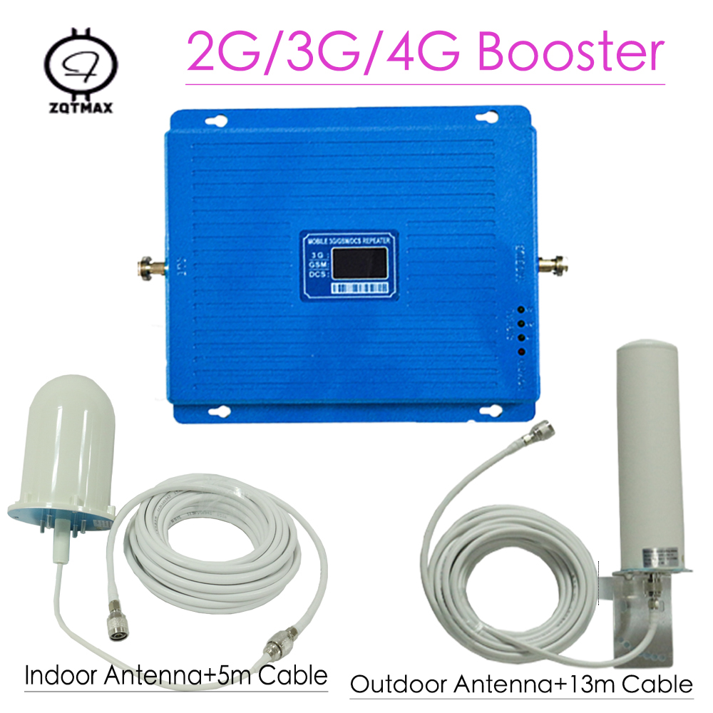 ZQTMAX 2G 3G 4G Cellular Signal Amplifier GSM DCS WCDMA Signal Booster 2100 UMTS 1800 LTE Repeater 75dB Gain With 12dBi Antenna