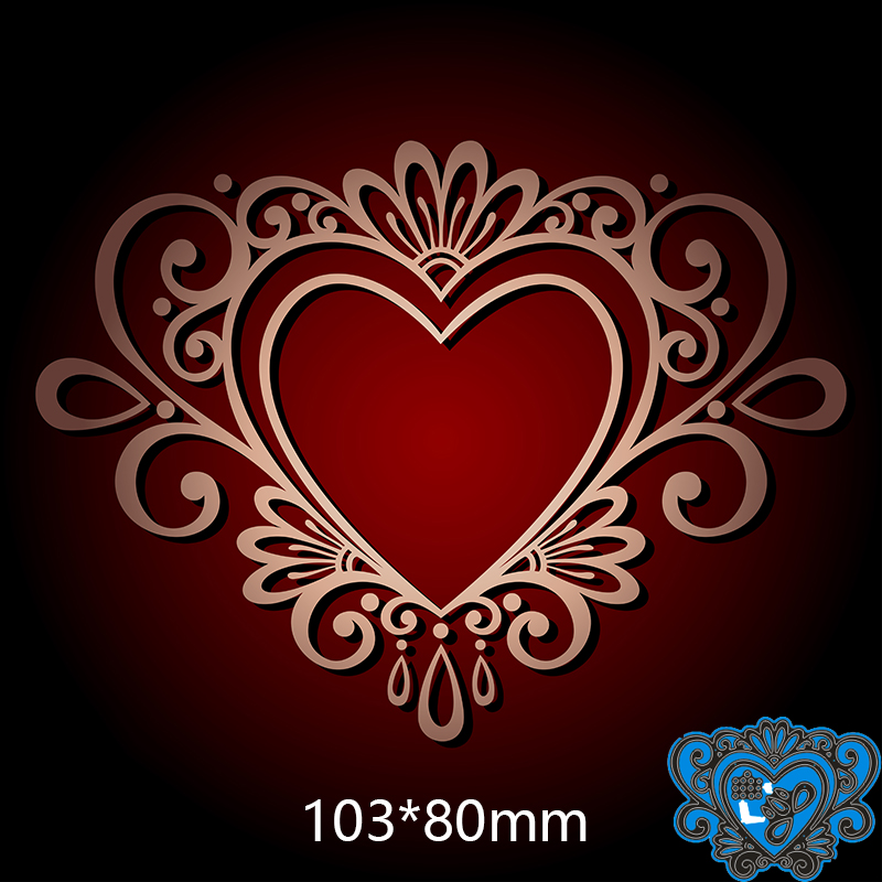 103*80mm Lace Heart New Metal Cutting Dies For Card DIY Scrapbooking Stencil Paper Craft Album Template Dies