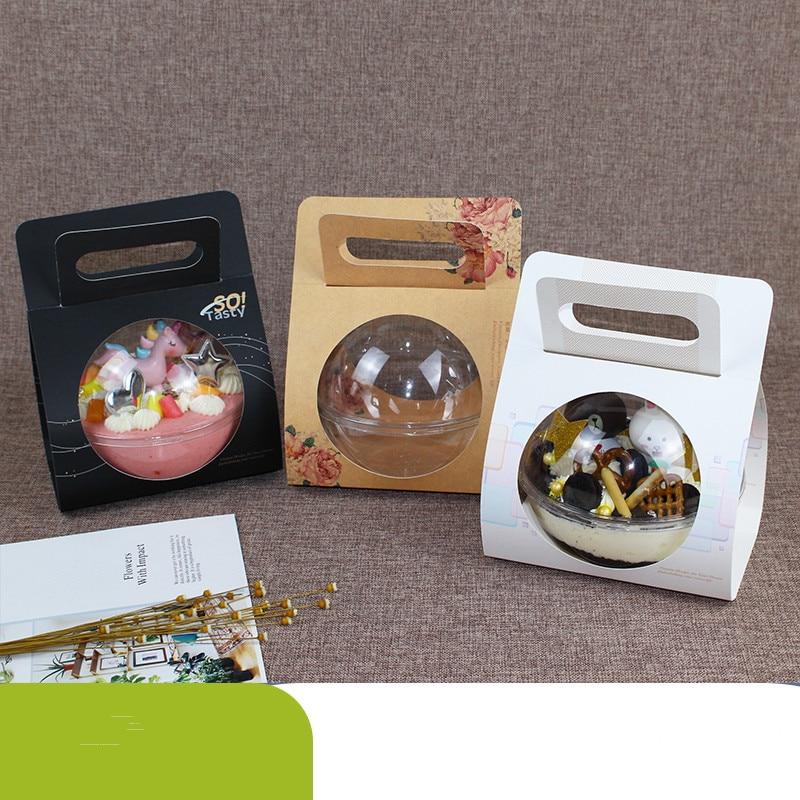 20 Pcs Hoge Kwaliteit Protbale Dessert Cup Transparante Bal Cake Box Creative Party Gunsten Bakken Pakket Gift Dozen Salade Eten doos|Wegwerpbekers|   - AliExpress