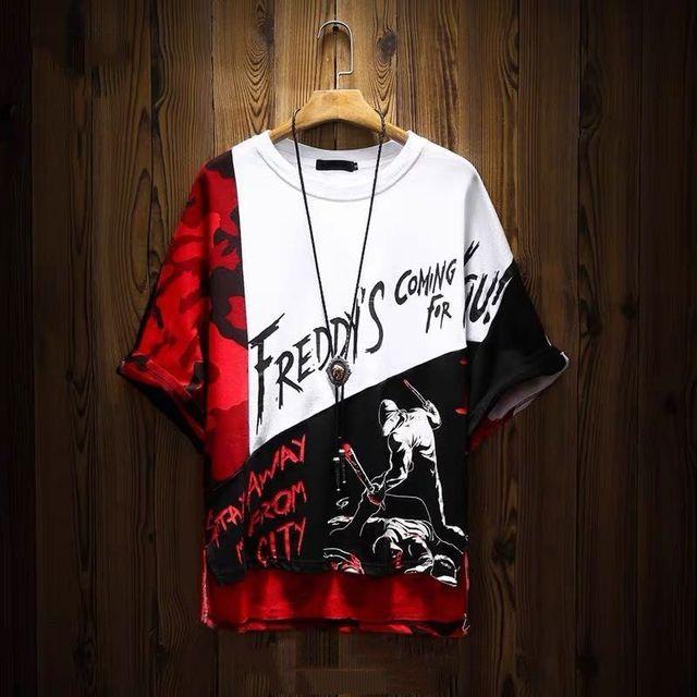 Camiseta de algodón con estampado de Hip Hop para hombre, camisa de manga corta a la moda, estilo rapero, Anime callejero japonés 1