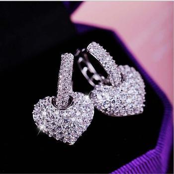 Mini Rhinestone Small Hoop Earrings Crystal Heart Shape Shiny Glitter Hoop Earrings For Women Fashion Jewelry Gift Minimalist цена 2017