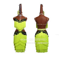 Fluorescent Yellow Fringe Latin Dance Dress Women Children Costume With Bodysuit Bra Salsa Samba Rumba Competition Dancing Wear