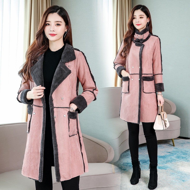 Winter Long   Suede     Leather   Jacket Women Plus Size Female Pink Faux Fur Lined   Suede   Jacket Woman Coat Large Ladies Windbreaker