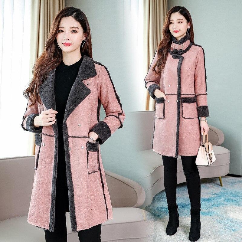 Jaqueta de Couro para Mulheres Inverno Longo Camurça Mais Tamanho Feminino Rosa Falso Pele Forrado Jaqueta Mulher Cabolsa Grande Senhoras Blusão