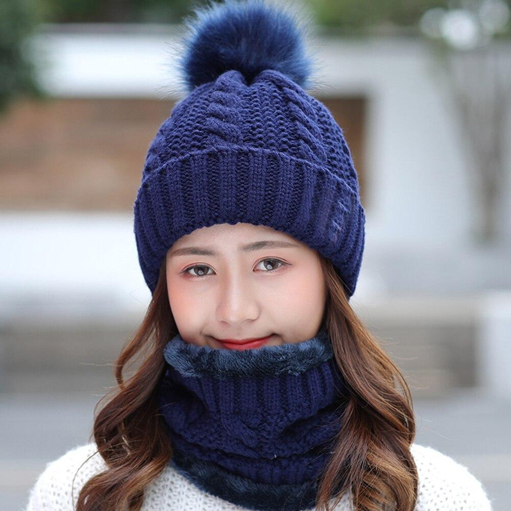 Women Winter Home Keep Warm Knitting Beanie Fleece Faux Fur Soft Hat Scarf Set Slouchy Shopping Ski Cap Baggy