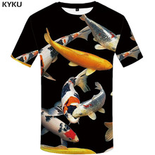 KYKU Carp T-shirt Men Animal T-shirts 3d Fish Shirt Print Black Tshirt Printed Harajuku Anime Clothes Short Sleeve T shirts