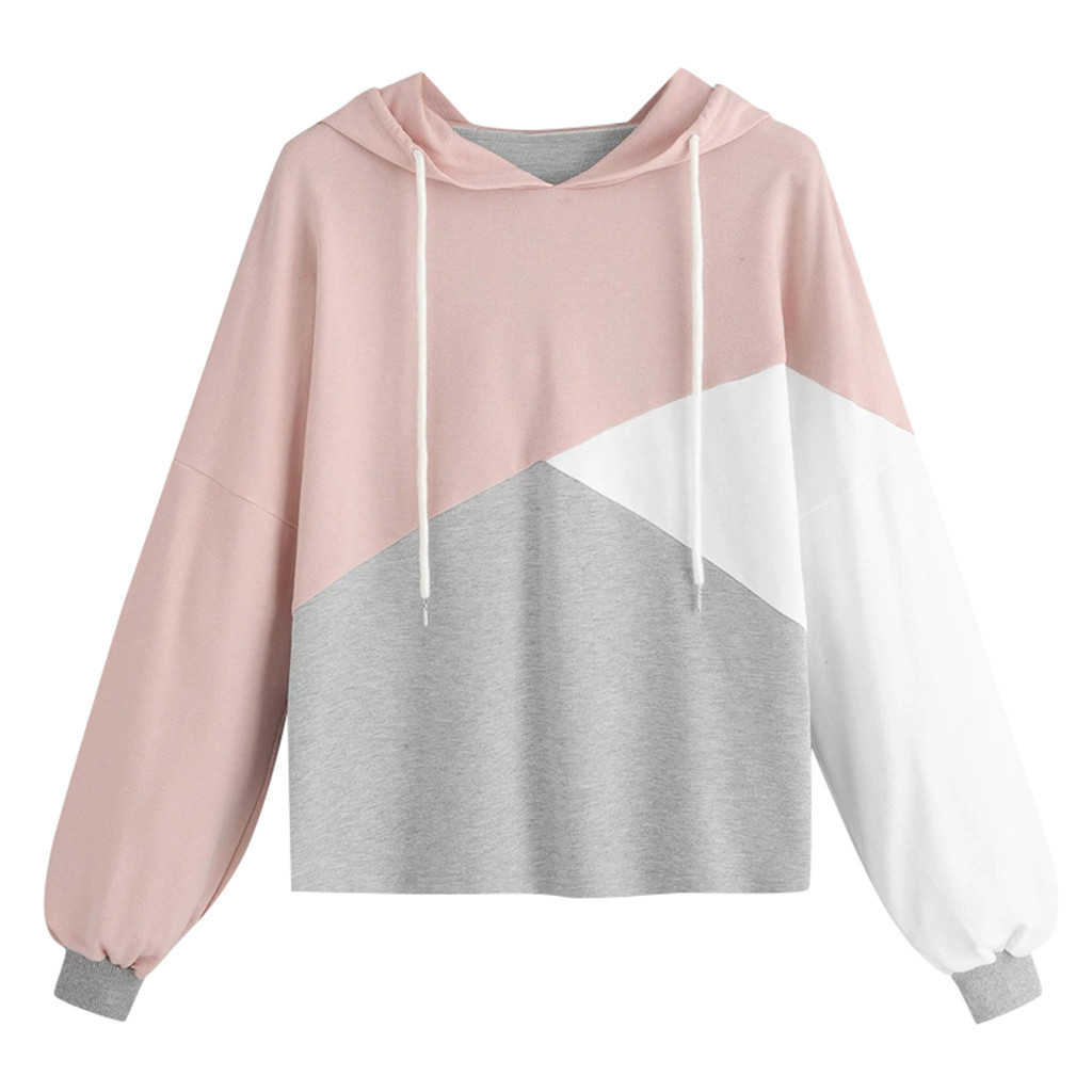 Womens Autumn Blouse Long Sleeve Patchwork Blouses Drawstring Sweatshirt Hooded Pullover Tops Blouse Girl Ladies 801
