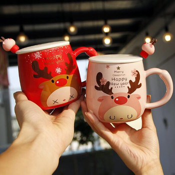 350ml Ceramic Mug Creative Coffee Cup With Lid And Spoon Tea Milk Cups Child Christmas Elk Mugs Kids Gift Red Pink Couple