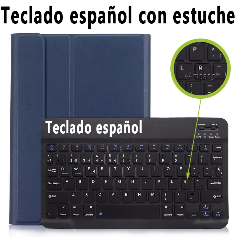 Spanish Keyboard Brown 3 0 Bluetooth Keyboard Case for iPad 10 2 Case for Apple iPad 7th Generation A2200