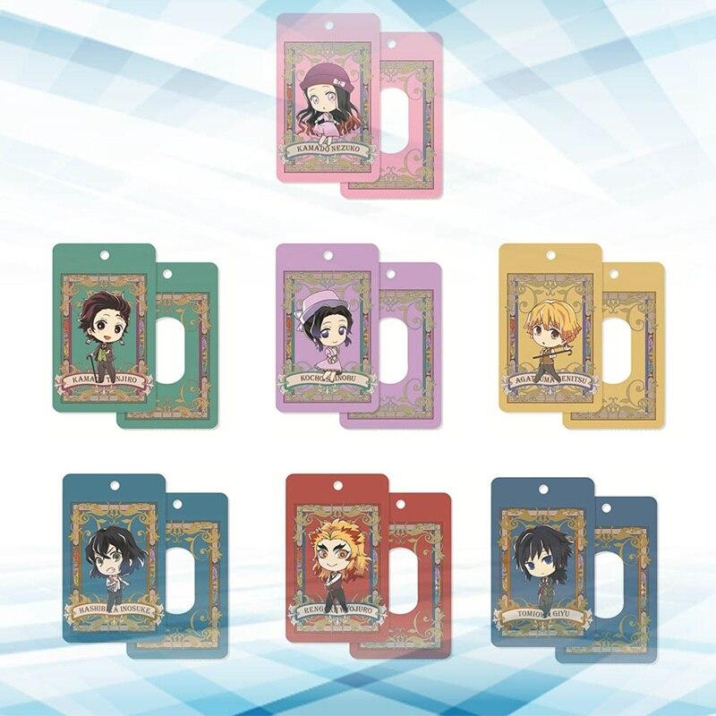 Anime Demon Slayer: Kimetsu No Yaiba Tanjirou Nezuko Acrylic Cards Holder Bus Pass Business Card Case Keychain Bag's Pendant