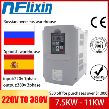 HOT! VFD AC 220V to 380V 7.5KW/11KW 10hp Variable Frequency Drive CNC Drive Inverter Converter for 3 Phase Motor Speed Control image