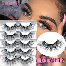 5 pairs 6d vison natural moda longa cílios postiços wispies fofo tiras completas artesanal cílios extensão maquiagem dos olhos feminino beleza