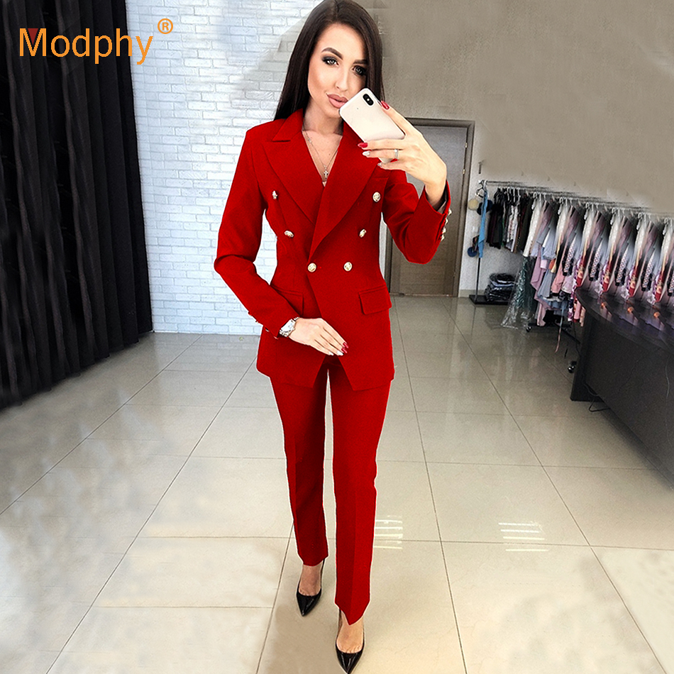 Work Fashion Pants Suit 2 Piece Set Ladies Double-breasted Blazer Jacket And Pants Office Ladies Suit Feminino 2018
