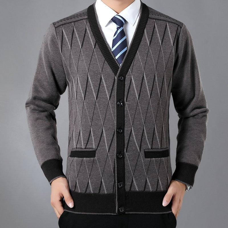 Men Wool Cashmere Caridgan Knitwear Black Camel Red Rhomboids Pattern Thicken Fleece V-neck Warm Sweaters Autumn Early Winter