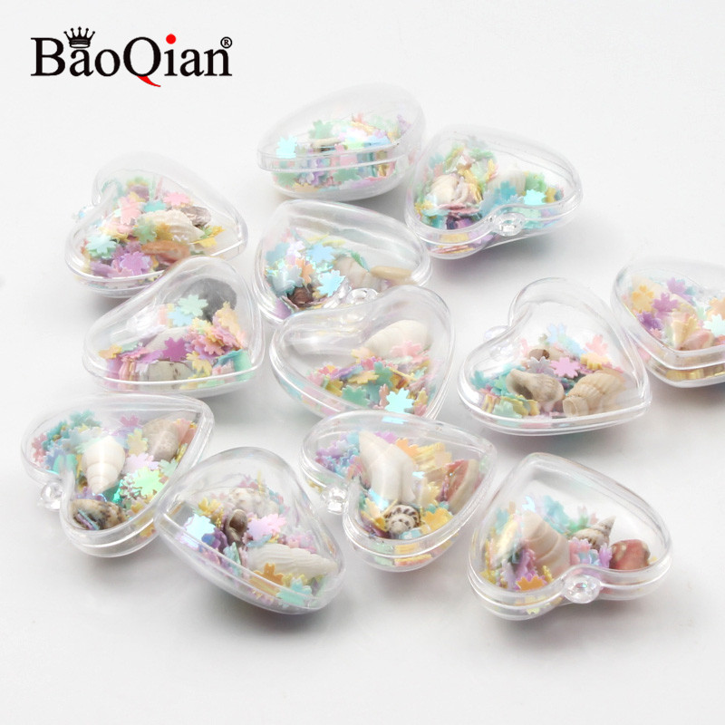 5Pcs Colorful Transparent  Marine Shell Heart 29x30mm For Hanging Room Decoration Kids Room Wishing Bottle Pendant