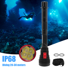 BORUiT W470 LED Scuba Diving Flashlight High Power XHP70.2 10000LM  Torch Underwater 30M Lantern 26650 Diver Submarine Light