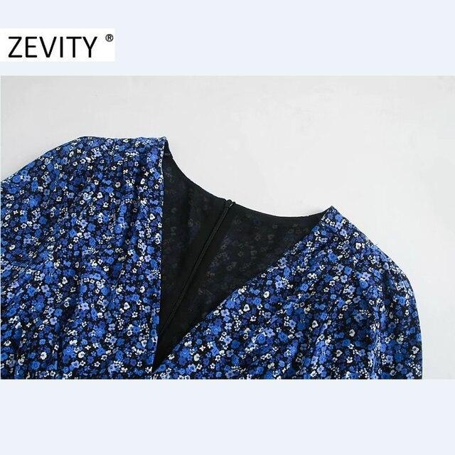 ZEVITY New Women Vintage V Neck Flower Print Pleated Shirtdress Ladies Long Sleeve Back Zipper Vestido Chic Split Dresses DS4516 4
