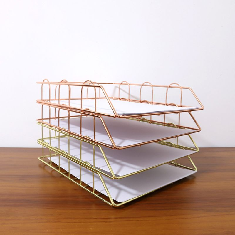 Folding Wrought Iron Letter Magazine Newspaper Holder Storage Rack File Tray For Office Desk Organizer Supplies 11UB