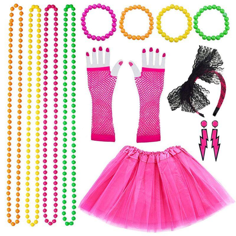 Adult Ladies Neon Orange Mesh Tutu Skirt Fancy Dress Up 80s Hen Party Dance Wear