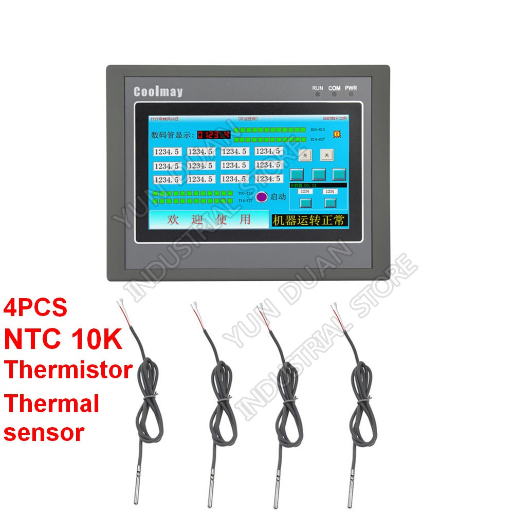 4.3'' HMI PLC All In One Controller Touch Panel MOS Transistor Output Digital Analog & NTC Temperature Sensor thermostat Modbus|  - title=
