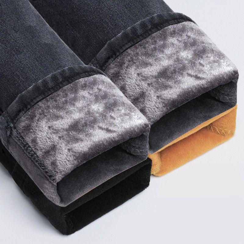 Vintage Plus Velvet High Waist   Jeans   Women Denim Pencil Pants Warm Thick Boyfriend   Jeans   Femme Casual Streetwear Mom   Jeans   Q1865