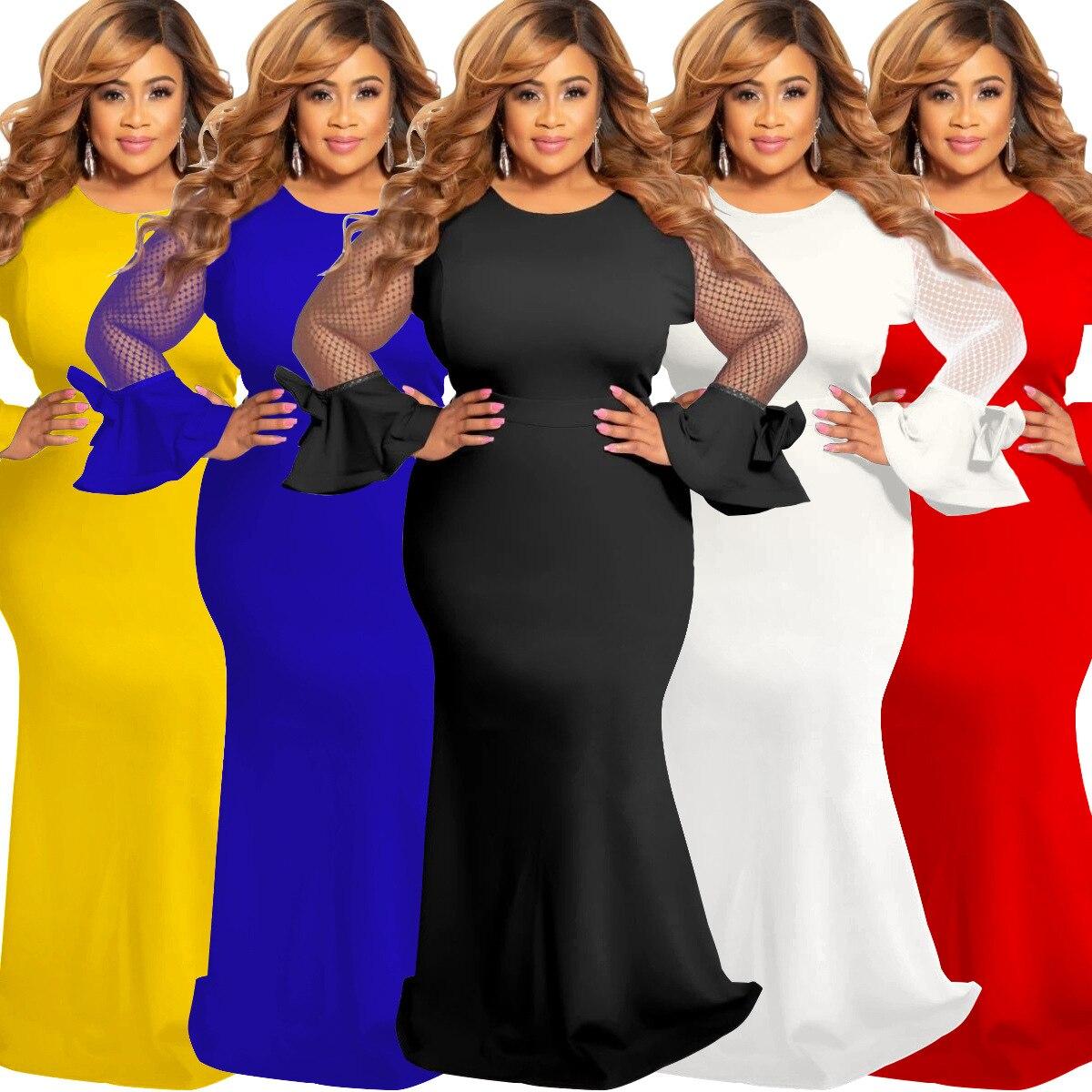 2019 Autumn Elegent Fashion Style African Women Beauty Plus Size Long Dress S-5XL