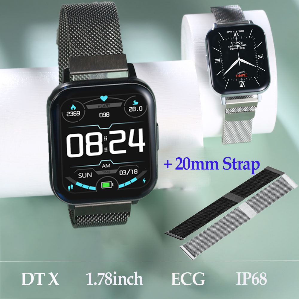 <font><b>NO</b></font>.<font><b>1</b></font> <font><b>DT</b></font> X <font><b>SmartWatch</b></font> DTX IP68 Waterproof <font><b>1</b></font>.78inch Colorful Screen ECG Heart Rate Sleep Monitor VS DT35 P8 Pro Smart Watch Men image