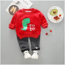 2019 Autumn Winter Baby Infant Clothes Suits Toddler Boys Girls Clothing Sets Cartoon Plush Coat  Pants Kids Children Costume 3 pcs 1 lot 2016 winter baby girls boys clothes sets children down cotton padded coat vest pants kids infant warm outdoot suits