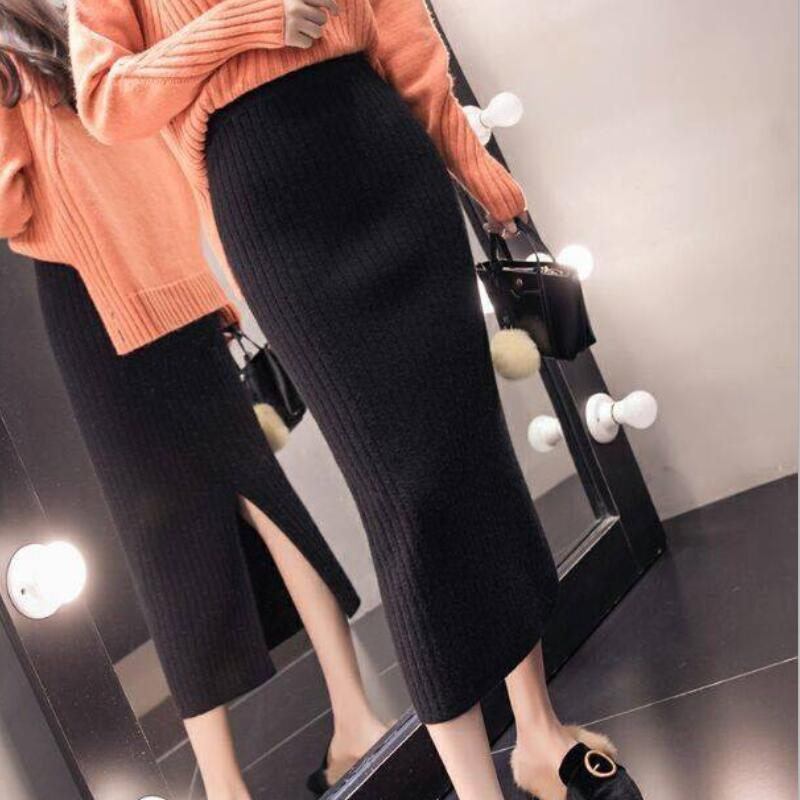 2019 Winter Women Midi Skirts Korean Casual Ladies A-line Female High Waist Solid Knitted Knit Thick Long Sweater Skirt Women