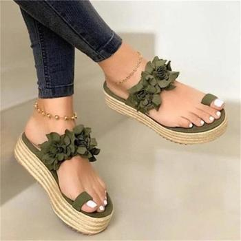 Wedges Flat Sandals Women 2020 Summer Platform Casual Flower Beach Sandals Female  Open Toe Slip On Shoes Plus Size Sandals 2017 new fashion hgh top women sandals rome styles open toe summer beach shoes slip on female buckles sandals