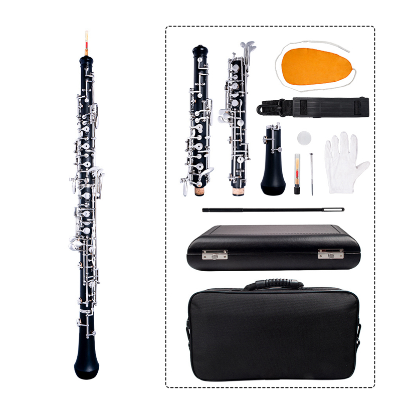 Temperate Naomi Professional Oboe C Key Semi-automatic Style Nickel-plated Keys Woodwind Instrument With Oboe Reed Gloves Leather Case