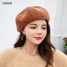USPOP Hats 2019 New women berets embroidered letter corduroy beret female thick warm solid color autumn winter hats painter hat