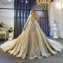 Amanda Novias 2020 คอลเลกชัน Heavy ประดับด้วยลูกปัดงานแต่งงาน 100% จริงรูปภาพไม่รวม Veil