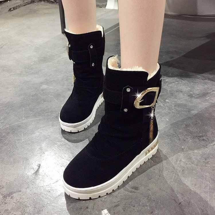 DORATASIA Yeni 35-41 Zarif Kemer Toka Kar Botları Kadın 2019 Kış Platformu Ayak Bileği Patik Bayanlar Sıcak Kürk Takozlar ayakkabı Kadın