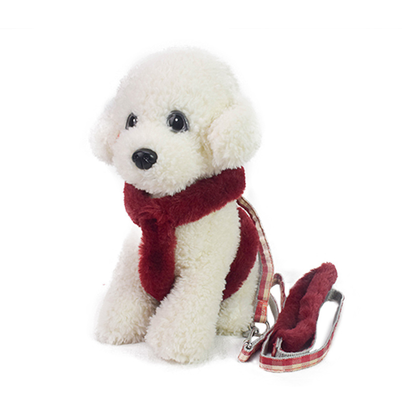 Pet Supplies Portable Imitation Rabbit Fur Dog Breast Collar Hand Holding Rope Plus Velvet Outer Wear Winter Style Dog Rope