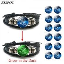 DropShiping Libra Scorpio Aquarius Pisces 12 Constellation Black Punk Leather Bracelet for Men Women Glow In The Dark Zodiac