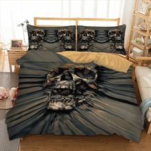 3D Skull Black Bedding Set Horrible skull death head design twin king queen double bedclothes duvet cover set 3pcs