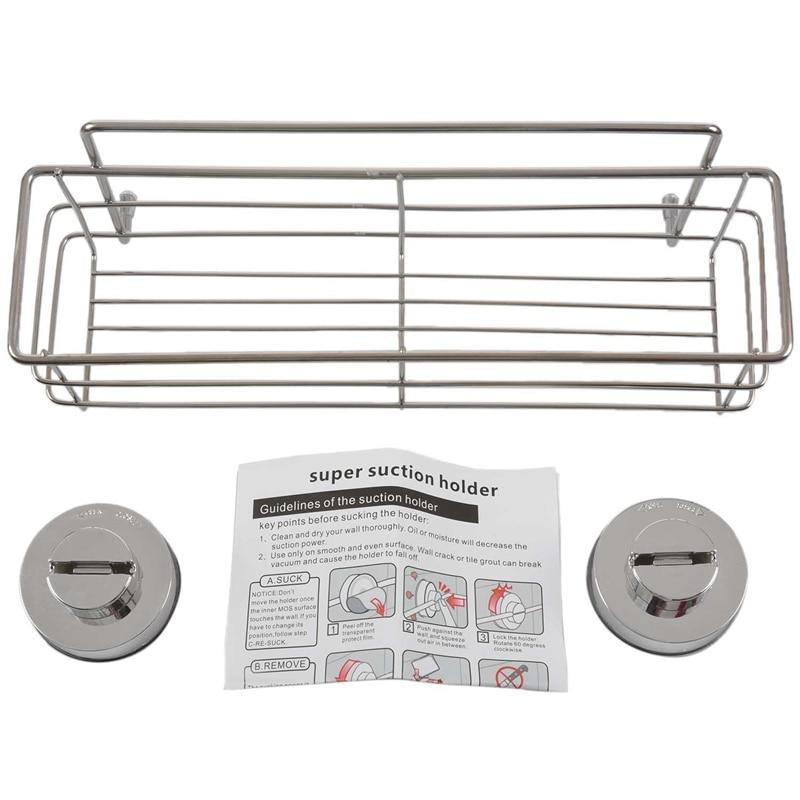 New Stainless Steel Non Rust Bathroom Shower Shelf Storage Suction Basket Caddy