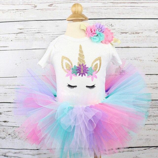 1 año niña bebé cumpleaños vestido Romper + tutú vestido + diadema barato ropa de recién nacido 12 meses bautizo vestido de unicornio Niño