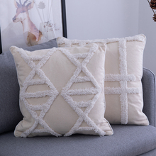 Beige Pillowcase Diamond Fringed Pillow Cover Home Decoration