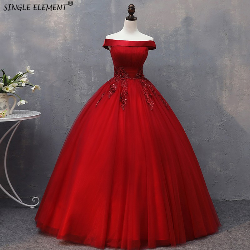 Ball-Gown Dresses Puffy Tulle Vestidos-De-15-Anos 15-Year-Old Debutante Red Beadings