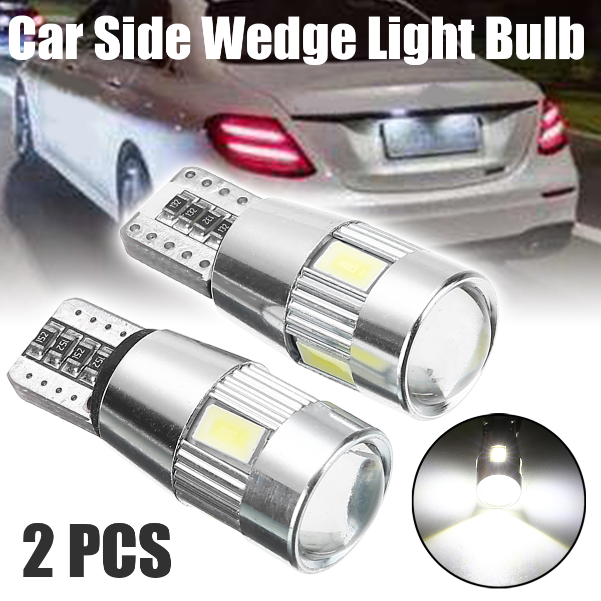 2Pcs High Quality T-10 6SMD LED Canbus Error Free Bulb 5630 C5W 194 Car Side Wedge Light Bulb With Lens Car Light Source