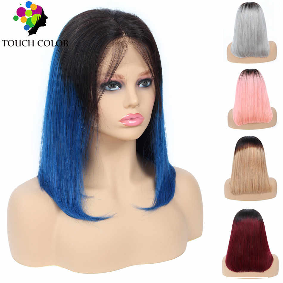 Short Bob Lace Front Human Hair Wigs Ombre Straight Lace Front Wig For Black Women Brazilian Remy Hair Lace Wig Blonde Blue Pink