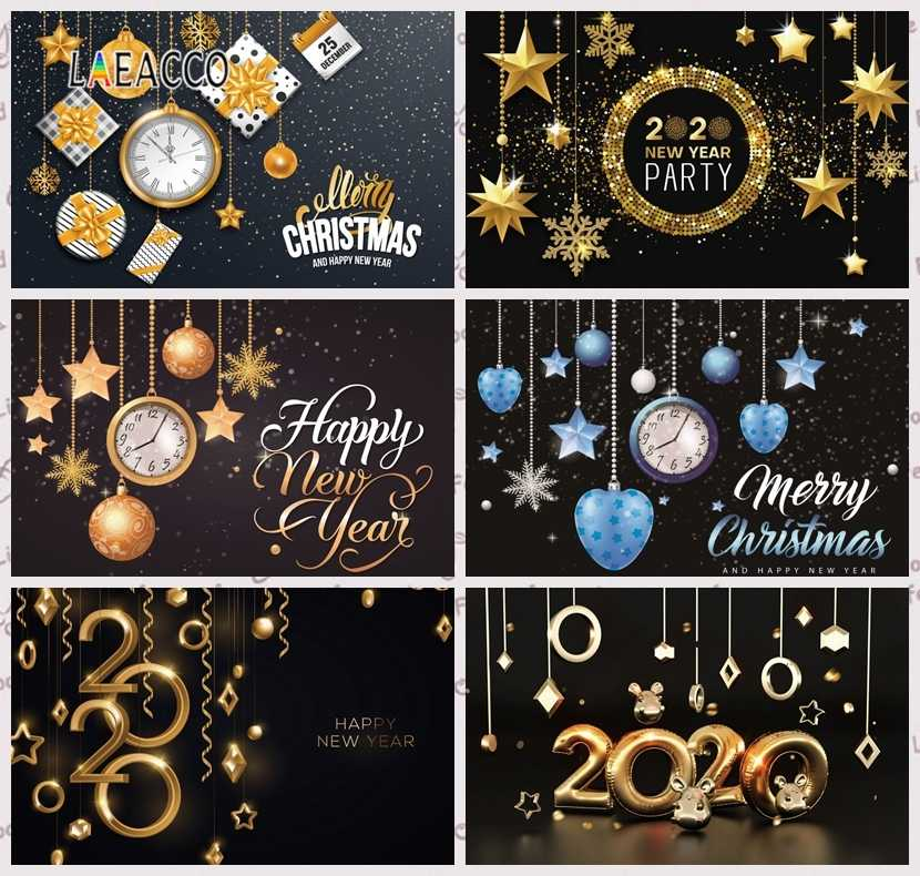 Laeacco 20x12ft Happy New Year 2020 Backdrop Vinyl Vintage Clock Dail Countdown Abstract Shiny Lighting Lines Bokeh Haloes Background New Year Celebration Party Banner Families Child Adult Portrait