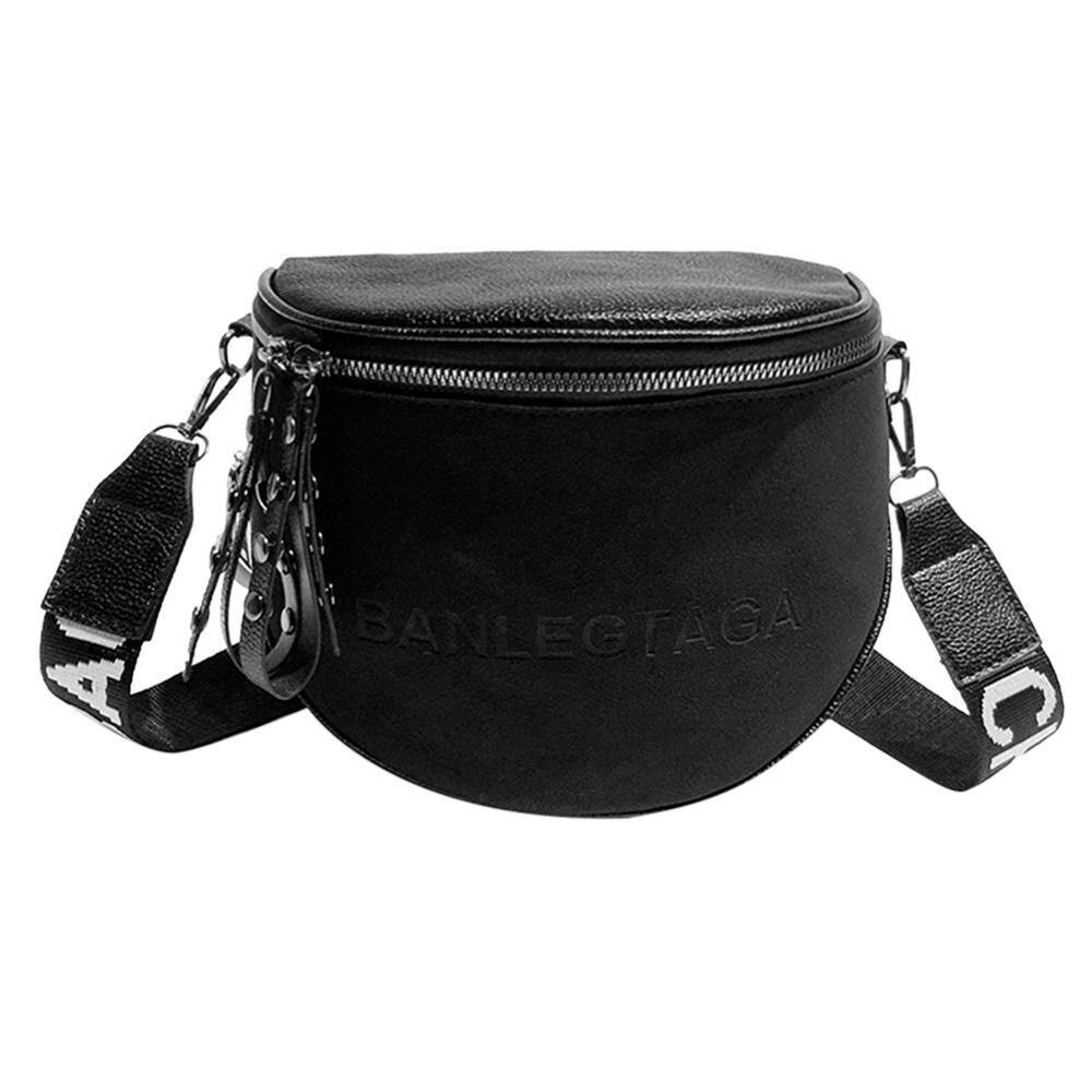 Fashion Crossbody Bag For Women PU Leather Messenger Shoulder Saddle Bags Lady Semicircle Zipper Money Purse Bolsas Feminina